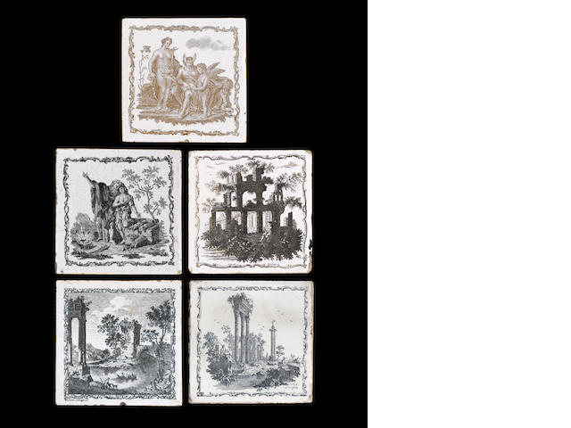 Five Delft tiles