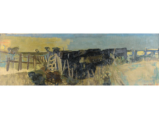 "Joan Kathleen Harding Eardley, RSA (British, 1921-1963) ""Cattle at a watering place"" 40.5 x 121.5 cm. (16 x 48 in.)"