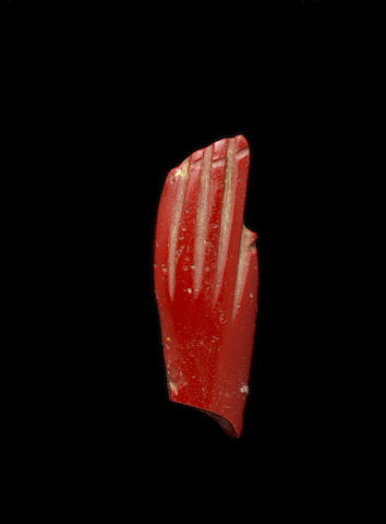 An Egyptian red jasper hand inlay