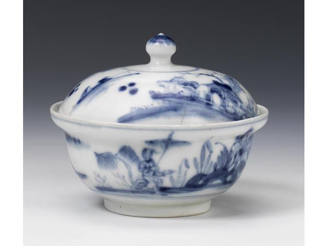 An exceptionally rare Lund's Bristol covered bowl, circa 1750-51