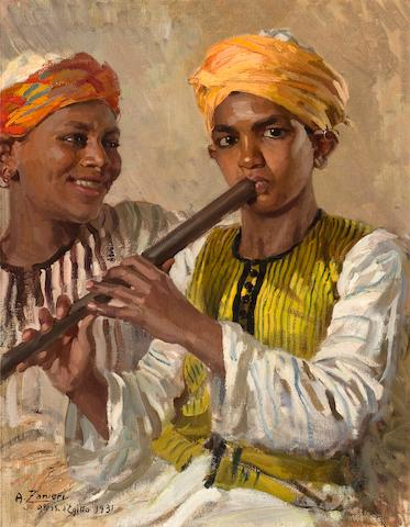 Arturo Zanieri (Italian, born 1870) Egyptian boy on his flute