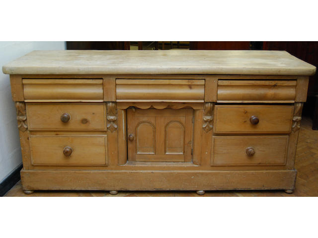 A Victorian pine and sycamore low dresser