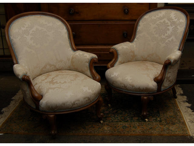 A pair of Victorian mahogany-framed occasional armchairs