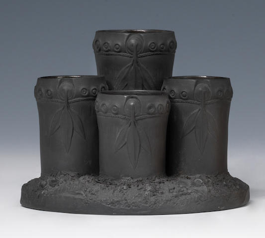 A Wedgwood black basalt multiple spill vase or flower holder circa 1790-1800