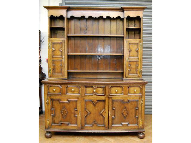 An oak high dresser, in 18th Century style