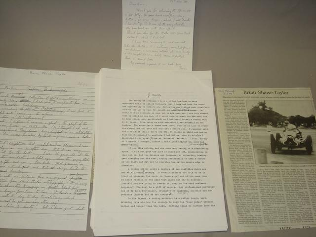 The original manuscript for the biography of Aston Martin and ERA racing driver Brian Shawe-Taylor,