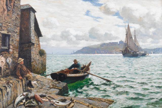 Charles Napier Hemy (British, 1841-1917) 'Landing fish'