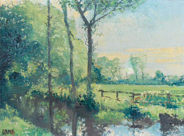 Charles Vincent Lamb R.H.A., R.U.A. (Irish, 1893-1964) River landscape; Landscape both 30 x 40 cm. (11 3/4 x 15 3/4 in.)