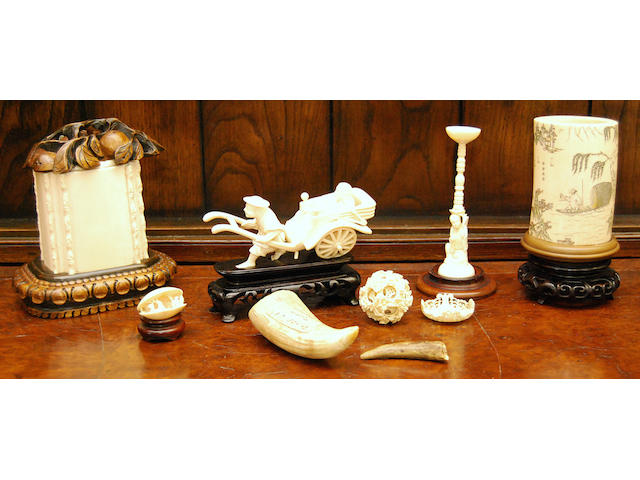 A small group of ivory and bone works of art