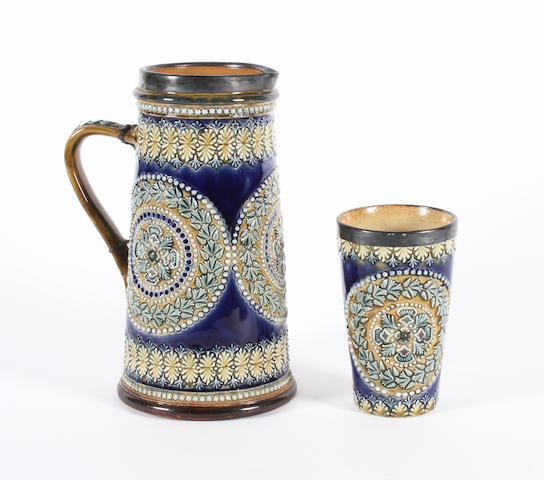 A Doulton Lambeth jug and matching beaker Dated 1881