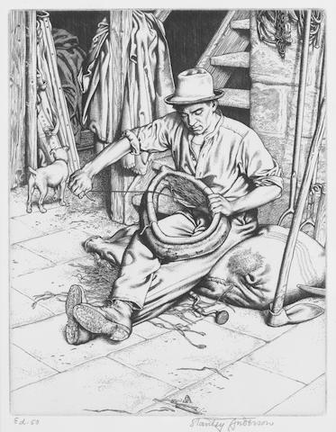 Stanley Anderson (British, 1884-1966) Sewing the Harness Etching, on laid, signed and inscribed 'Ed 50' in pencil, 192 x 150mm (7 1/2 x 5 4/5in)(PL), together with two others by the same hand, shire horse in stable, shire horses  3