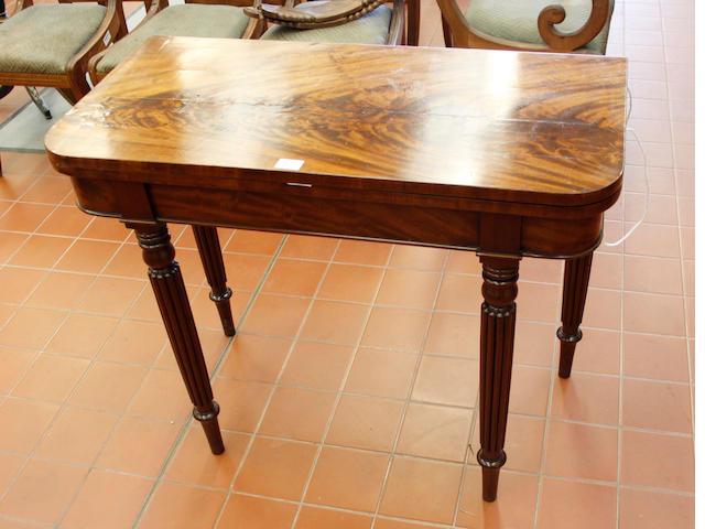 An early Victorian mahogany card table