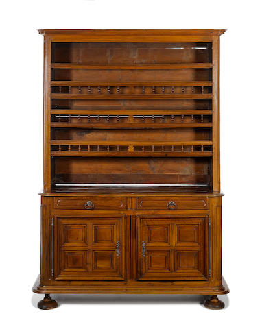 A large French late 19th century walnut buffet à deux corps