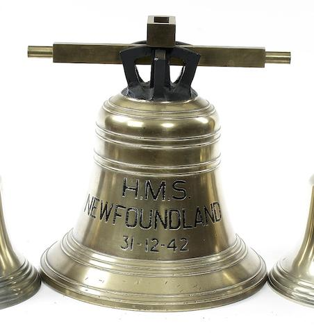 A Large Ship's Bell, HMS Newfoundland, 1942 19in(48cm)diam.