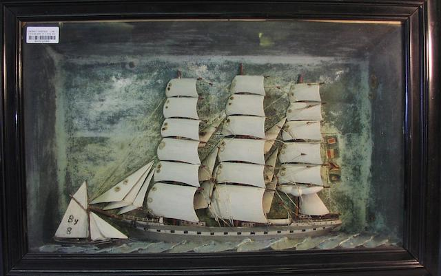 A waterline diorama model of the three masted ship Rosina 30.5x21x6.5in (77x53x16.5cm)