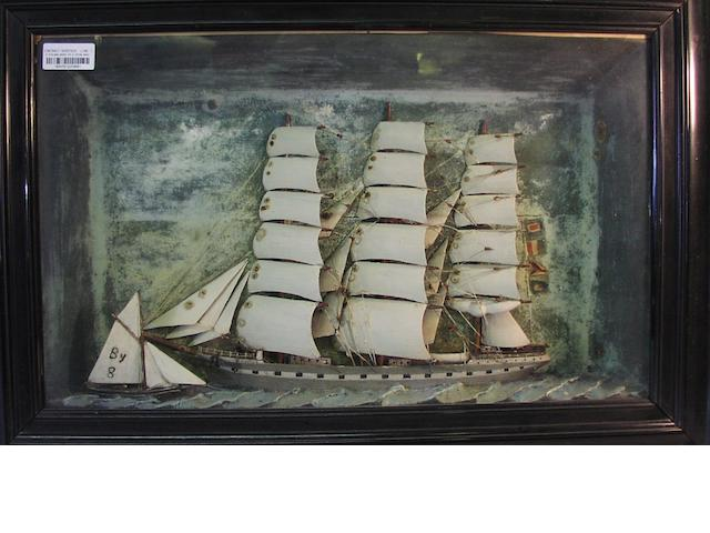 A waterline diorama model of the three masted ship Rosina 30.5x21x6.5in(77x53x16.5cm)