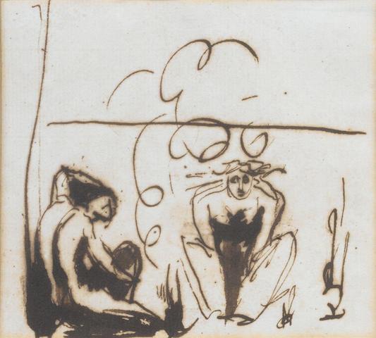 Romney, 'Fury', sketch, monogrammed