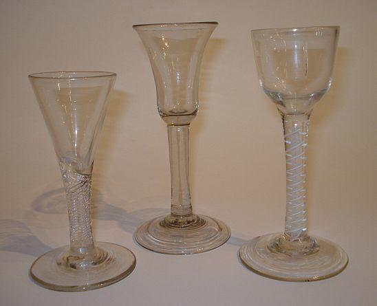 A collection of three 18th Century wine glasses  Circa 1770