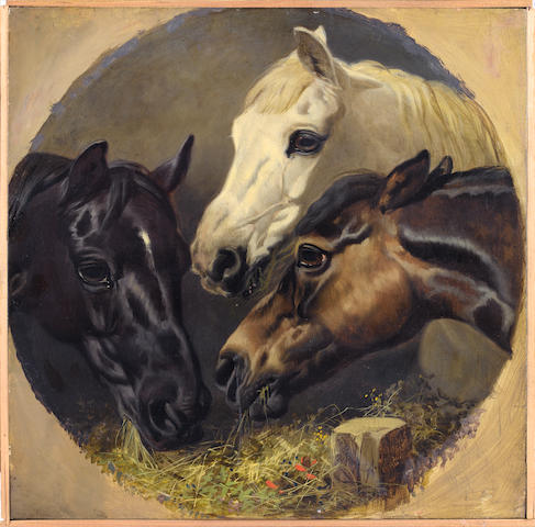 John F Herring, Snr, Horse Watering and  Horse Feeding, a pair, signed and dated 1848, oil on panel, 33cm diameter