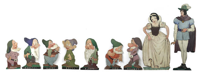 Snow White And The Seven Dwarfs: a rare set of nine promotional standees, UK, believed late 1930s,