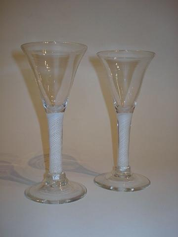 A pair of mid to late 19th Century wine glasses