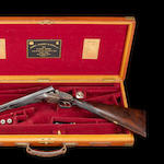 A fine 12-bore (2¾in) self-opening sidelock ejector pigeon gun by J. Purdey & Sons, no. 23969 In its brass-mounted oak and leather double-guncase with canvas cover