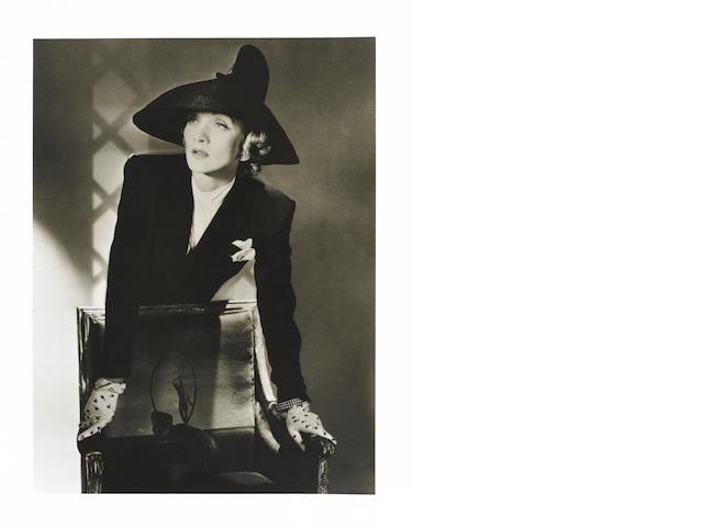 Horst P. Horst (German/American, 1906-1999) Marlene Dietrich, 1942 Paper 35.5 x 27.8cm (14 x 11in), image 30.4 x 22.8cm (12 x 9in)
