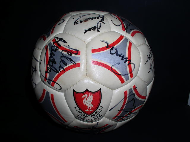 A Liverpool hand signed football