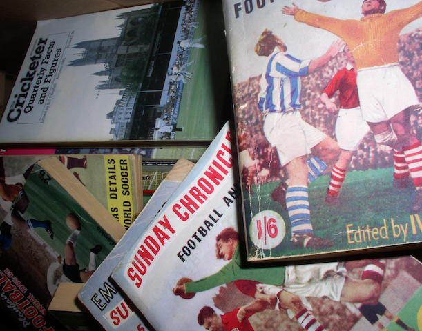 A large collection of football and cricket publications