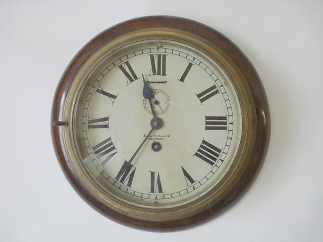 An early 20th Century ship's brass bulkhead timepiece S. D. Neill Ltd, Belfast with one winder) (2