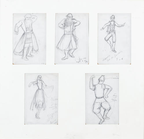 Five costume designs by Goncharova