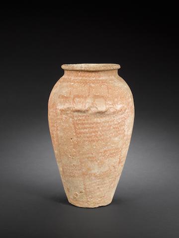 Predynastic piriform pottery vessel, circa 3000 B.C.