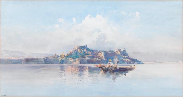 Angelos Giallina (Greek, 1857-1939) A fishing boat off the coast of Corfu 37.5 x 71 cm.