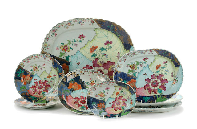 A collection of famille rose tobacco leaf plates and dishes  Qianlong