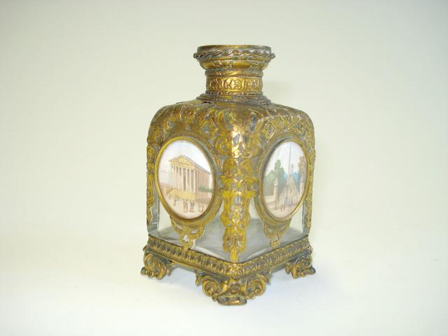 Parisian Interest:  A 19th Century cut brass, glass and watercolour-mounted 'Grand Tour' souvenir scent bottle