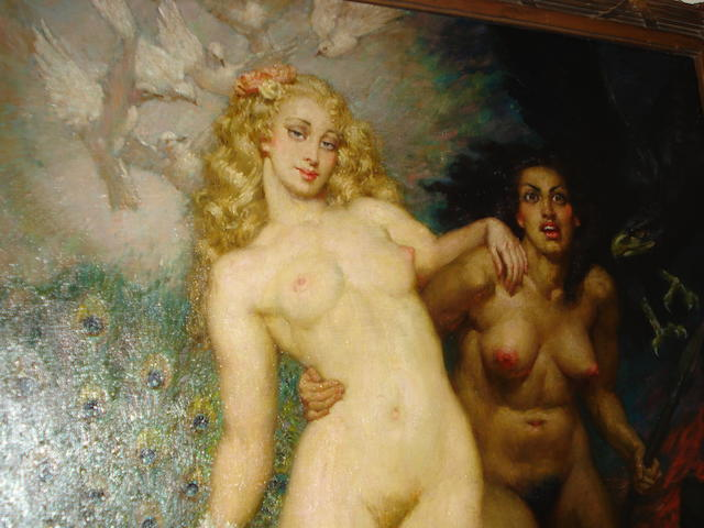 Norman Alfred Williams Lindsay (Australian 1879-1969) Sisters 114 x 99 cm.