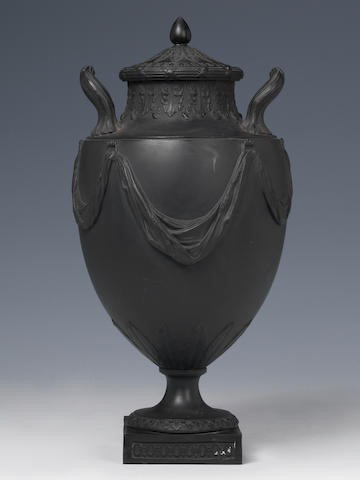 Wedgwood and Bentley black basalt vase and cover (knop detached)