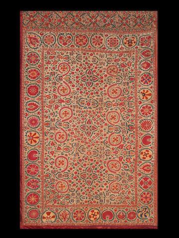An exquisite Shahrizabz embroidered linen Panel (susani) Uzbekistan, 19th Century
