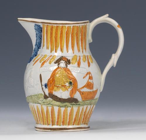 A commemorative Prattware jug circa 1797