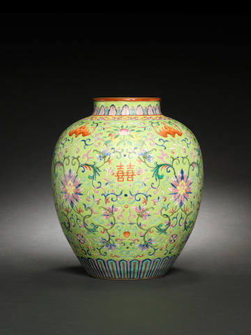 A rare famille rose lime-green ground vase Iron-red Jiaqing seal mark and of the period