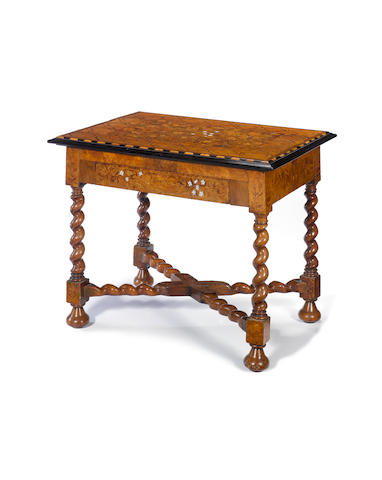 A Dutch 19th century ivory inlaid walnut, ebony, ebonised and floral marquetry centre table
