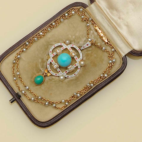 A late Victorian enamelled gem set pendant