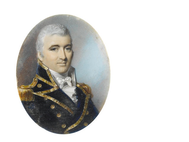 George Engleheart (British, 1750-1829) Sir Pulteney Malcolm GCB GCMG (1768–1838), wearing Naval uniform, gold trimmed blue coat with buttons embossed with anchors, gold epaulettes, white waistcoat, frilled chemise and tied stock, his hair powdered