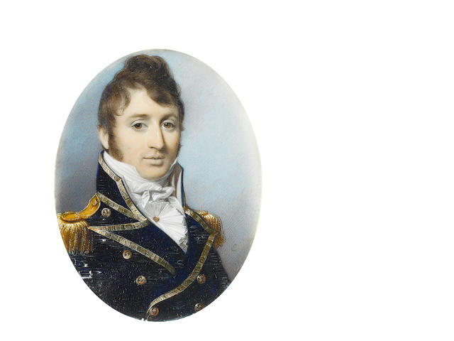 George Engleheart (British, 1750-1829) Sir Charles Malcolm (1782-1851), wearing Naval uniform, gold trimmed blue coat with gold buttons embossed with anchors, gold epaulettes, white waistcoat, frilled chemise held with gold stickpin and tied stock