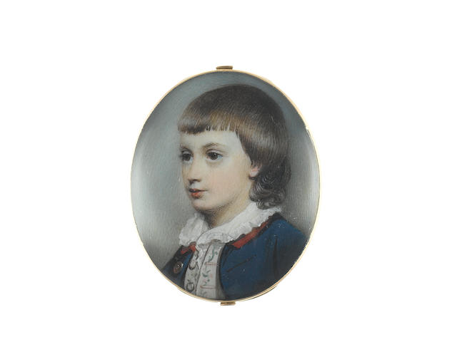 George Engleheart (British, 1750-1829) Robert William Wynne (1766-1842), as a boy, wearing blue coat with red collar, cream waistcoat with green and pink embroidery, white chemise with frilled collar