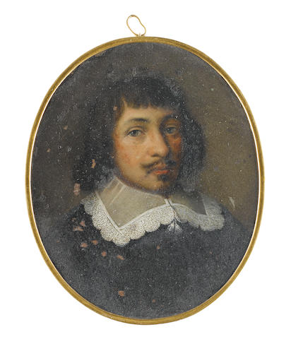 Dutch School, circa 1630 A Gentleman, wearing black cloak and white lace edged collar held with two tassels