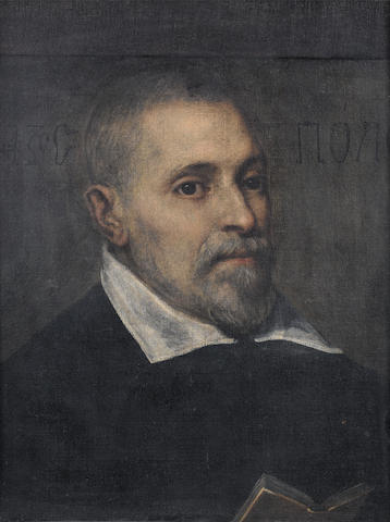 Venetian School, late 16th Century Portrait of a bearded man, bust-length,  bears Greek inscription (upper left and upper right)