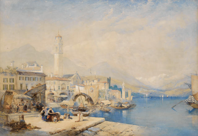 Thomas Charles Leeson Rowbotham, RWS (British, 1823-1875) Hazy morning at Pallanza, Lago Maggiore, North Italy