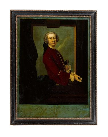 After Thomas Hudson Portrait of Henry Clarke Print with reverse glass painting, 36.2 x 26.3cm (14 1/4 x 10 3/8in), together with An engraved print of Cowper House Lunatic Asylum, Old Brompton, London, 10 x 16cm (3 15/16 x 6 5/16in), (2)