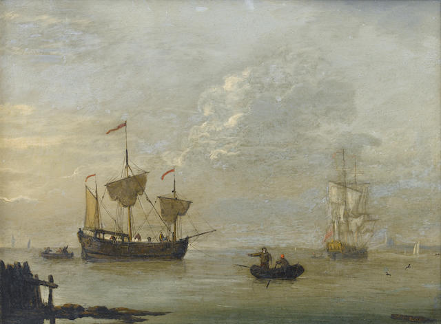 Francis Swaine (British, died 1782) A coastal trader anchored offshore in a calm, with an English frigate beyond